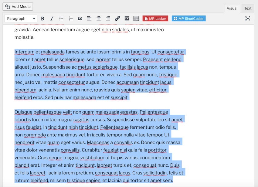 Highlight all the content you want to place behind the paywall-style content locker