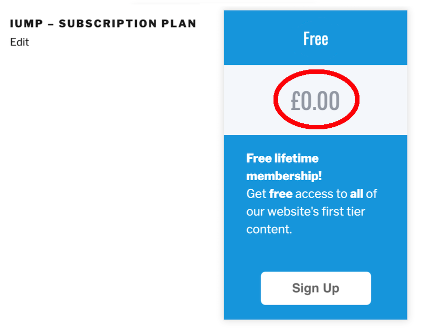 Price Text displays how much this subscription will cost