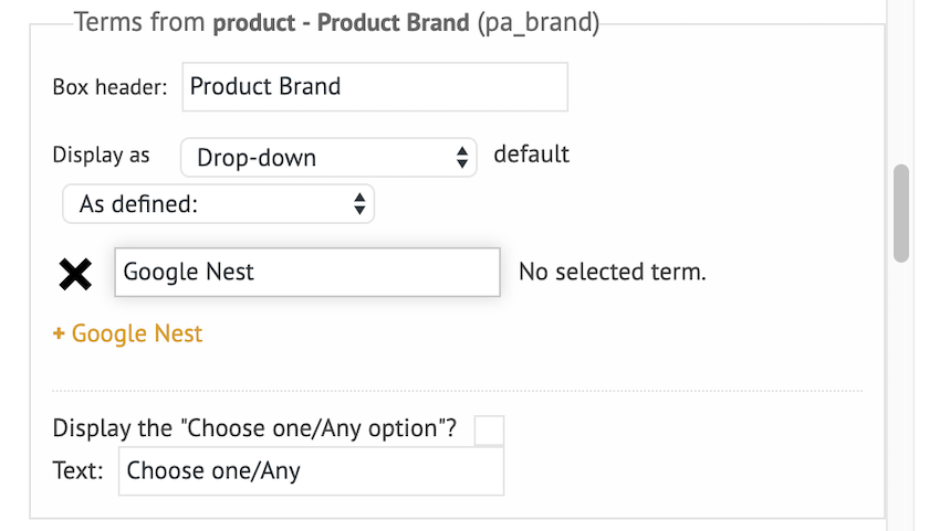 Select As defined then type your desired item into the accompanying text field and selecting that field when it appears
