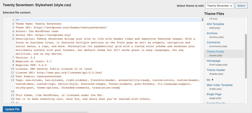 You can edit your WordPress theme by navigating to Appearance  Themes and opening the footerphp file