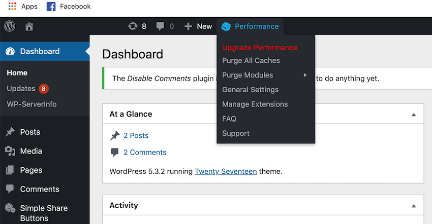 Select Performance from WordPress toolbar