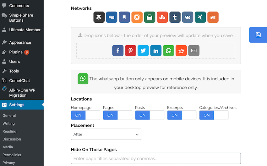 Specify where your social share buttons should and shouldnt appear