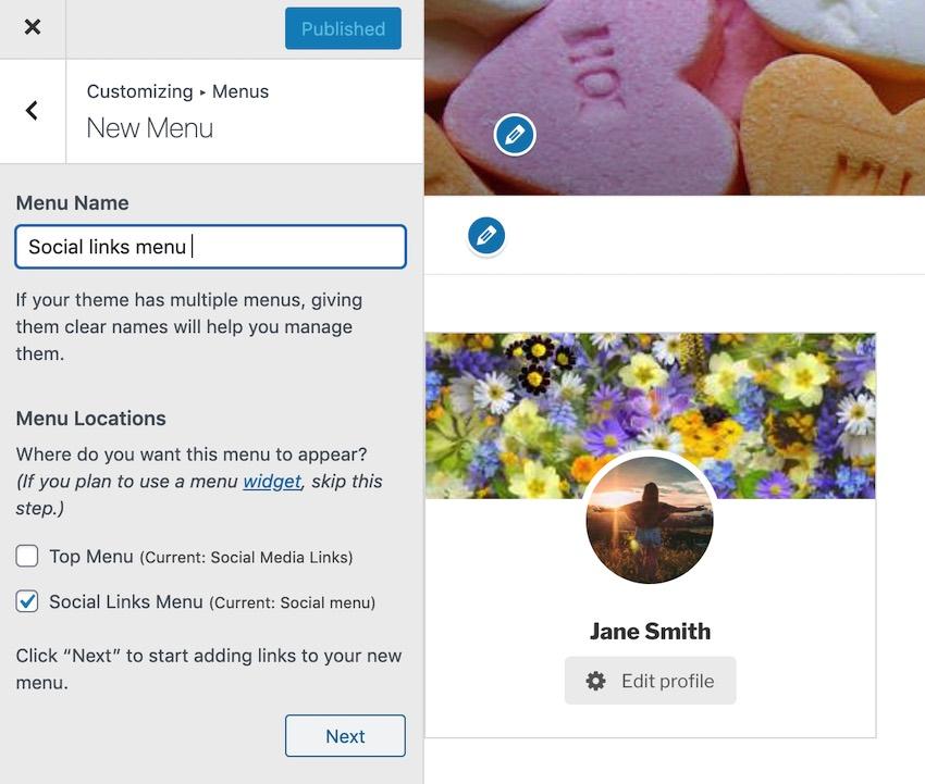 Select the Social links Menu checkbox
