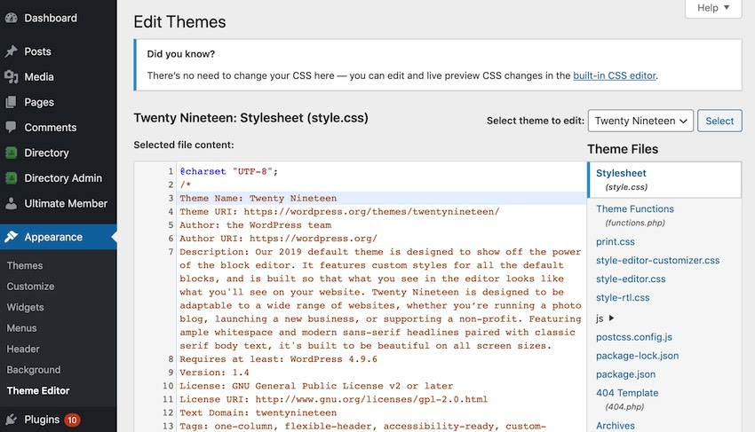 Add custom fonts to your website by editing your stylecss file