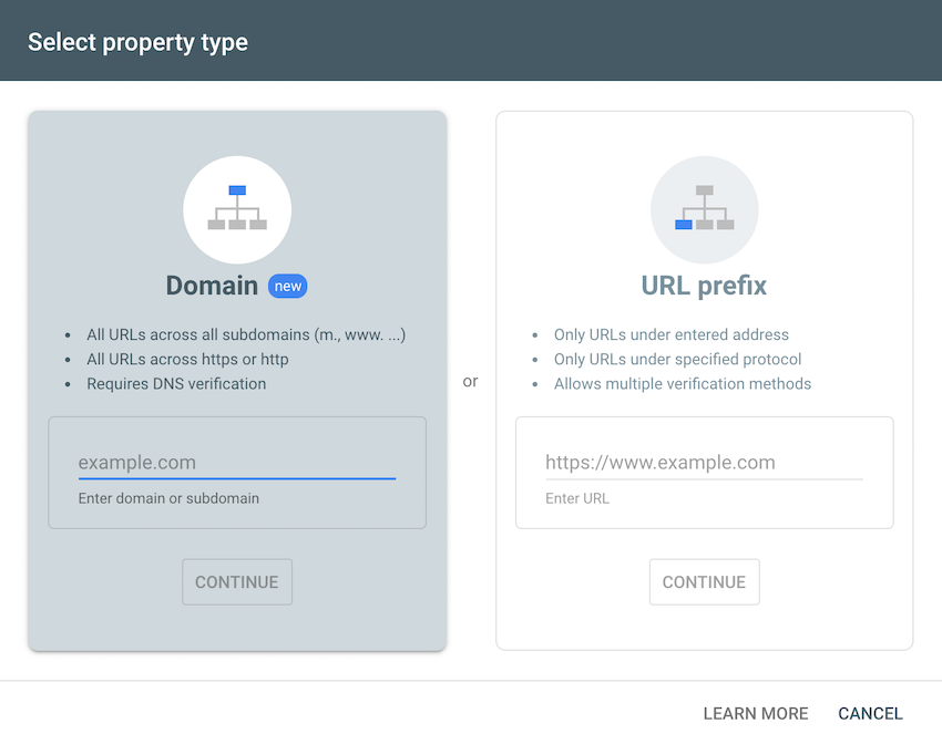 When registering your WordPress website you can choose between Domain name and URL prefix