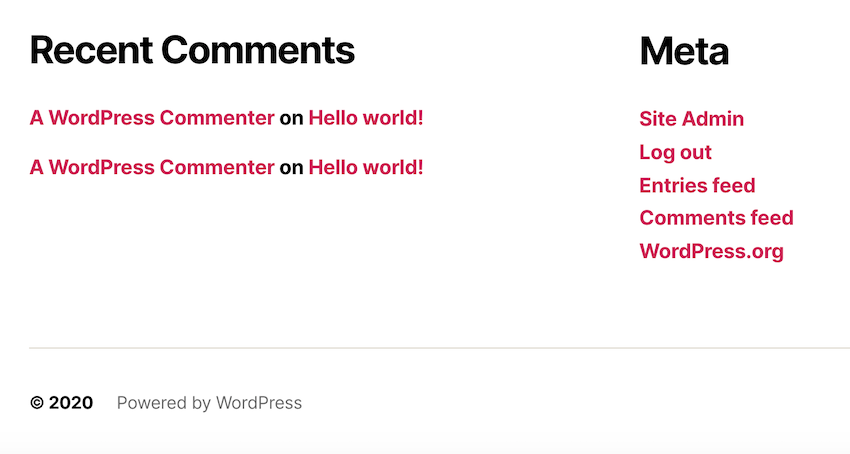All WordPresscom websites feature the Powered by WordPress disclaimer in their footer