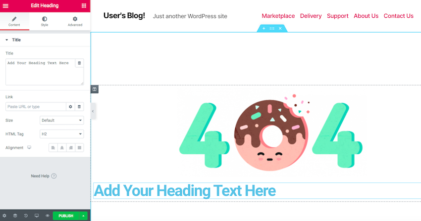 Add some text to your 404 page by grabbing the Heading widget and dropping it onto your template
