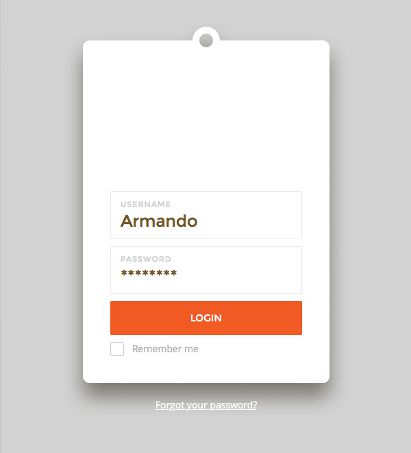Login form with shapes and text layers
