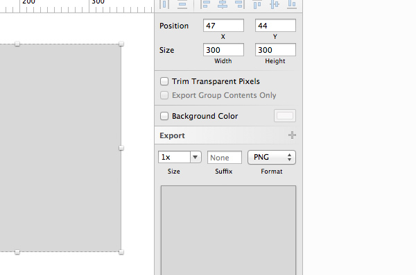 Export options - Inspector panel