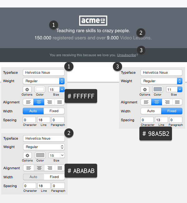 Text layers properties