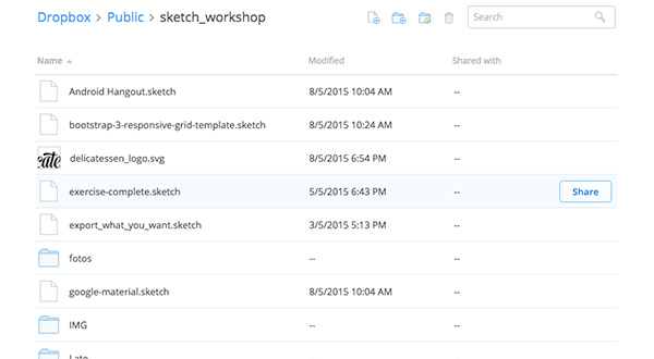 Sketch files in Dropbox