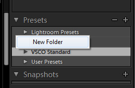 Create a folder to keep your presets organized
