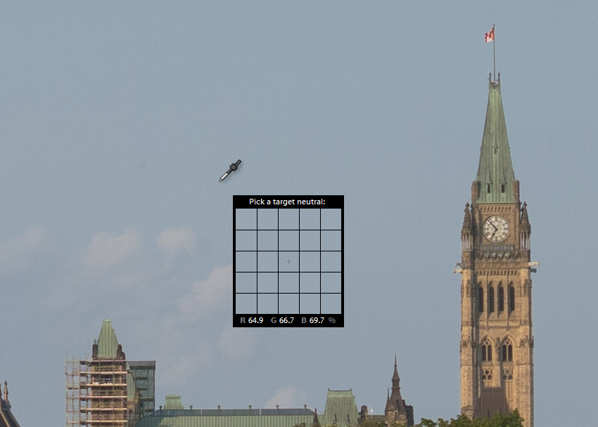 Color picker on a picture of Parliament Hill in Ottawa Canada