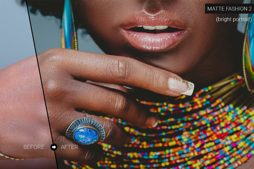 Portrait of a person with brightly coloured jewelry