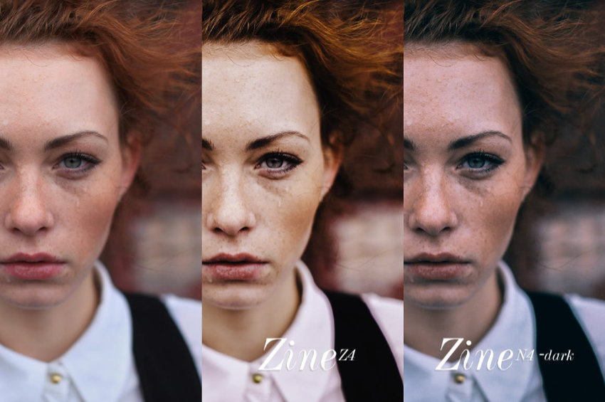 Composite comparison photograph of a red-haired person with different colour treatments in each image