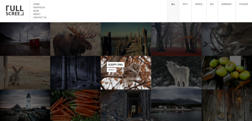 Fullscreen WordPress photography theme