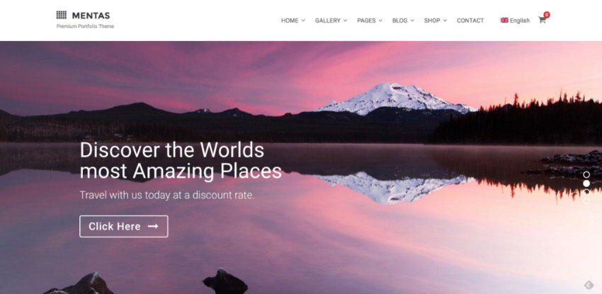 Mentas photography portfolio theme for WordPress
