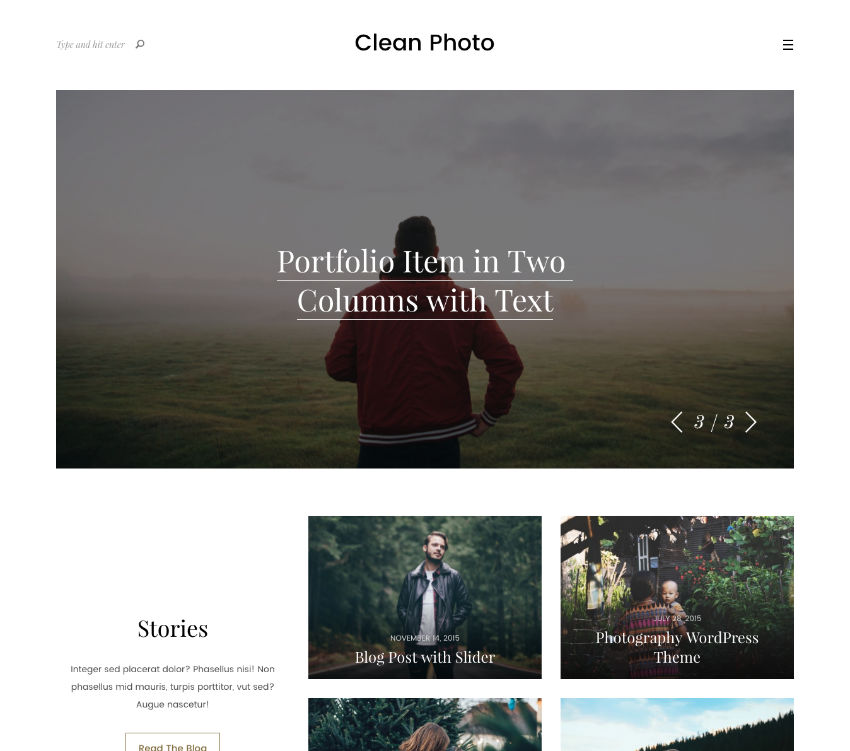Clean Photo WordPress theme
