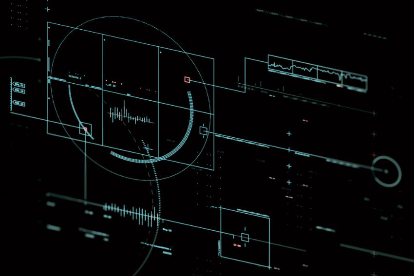 Heads-up display graphic tempate - computer-control designs on a black brackground