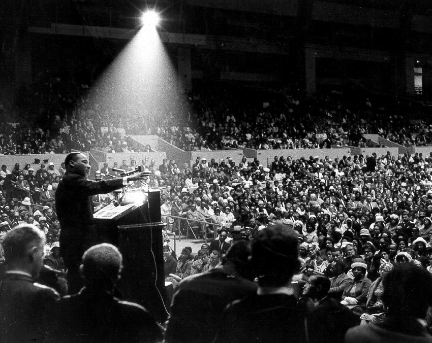 Martin Luther King, Jr. speaking at interfaith civil rights rally, San Francisco Cow Palace