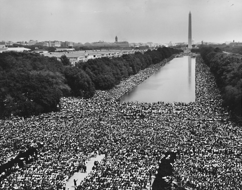 1963 march on the Capitol, view of the marchers and Washington Monument