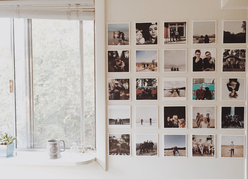 Photo wall with open window