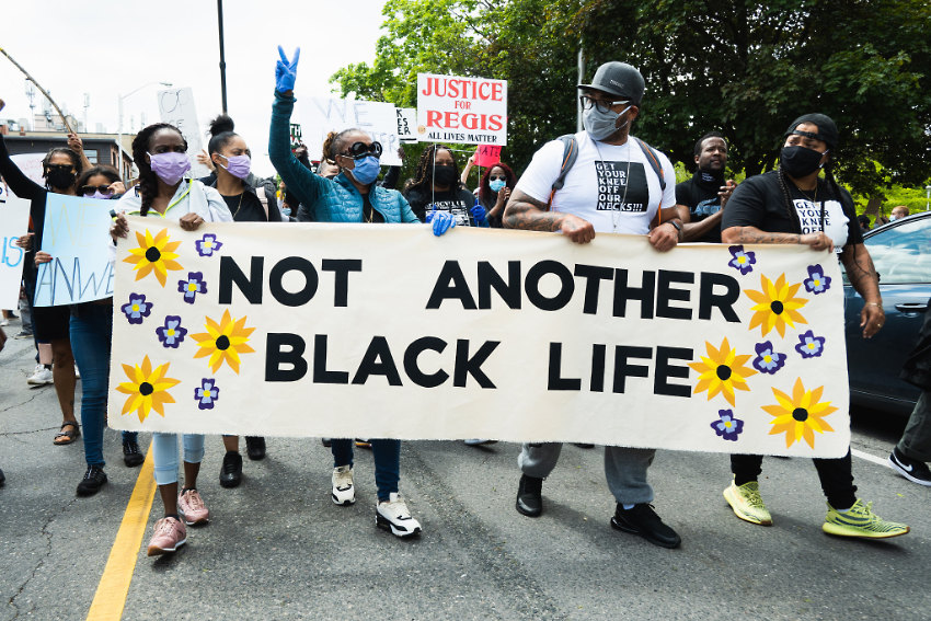 Banner At Front of Protest Parade March - Justice For Regis - Not Another Black Life rally and March - May 30, 2020, Toronto, Canada