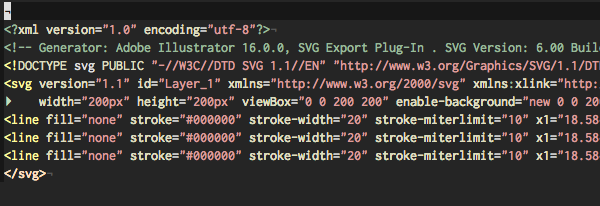 Screenshot of SVG code