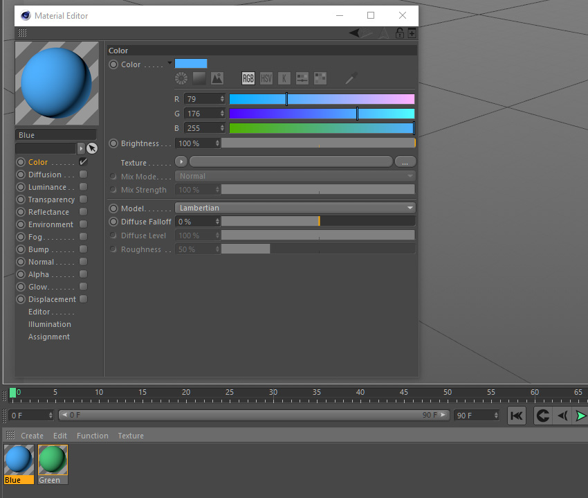 Choosing a blue colour in the material editor