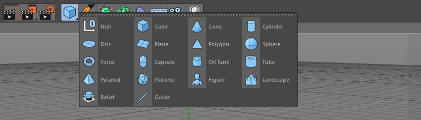 Cinema 4D create objects sub menu