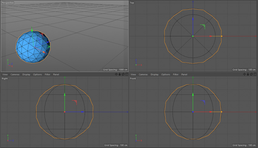 Four different views in Cinema 4D