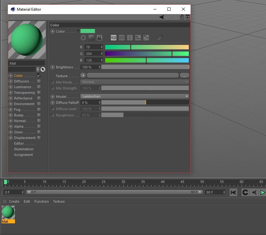 Adding green colour in material options