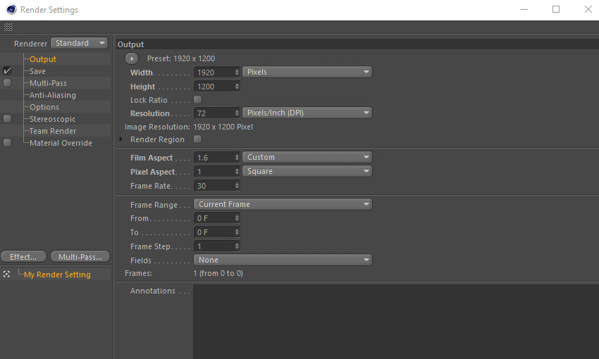 Render settings in Cinema 4D