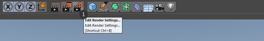 Edit render settings button in Cinema 4D
