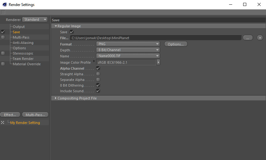 Save settings in Cinema 4D