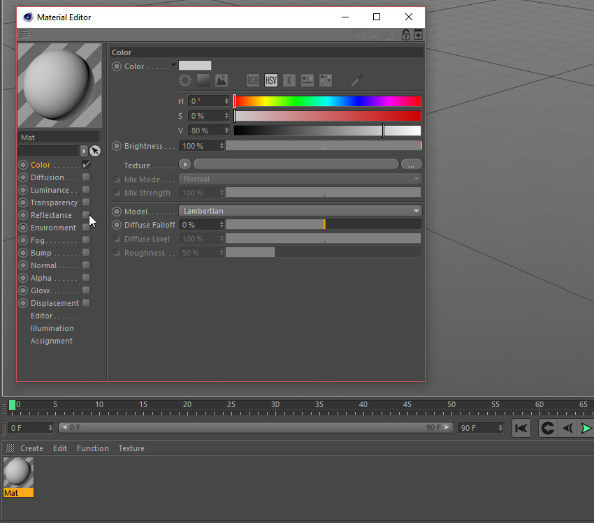 Material options editor in Cinema 4D