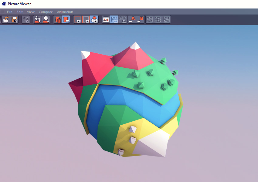 Image of the final 3D Lowpoly mini planet