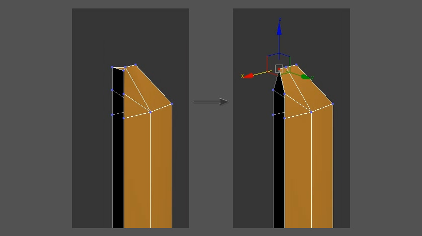 Weld the vertices to create the tip of the sword