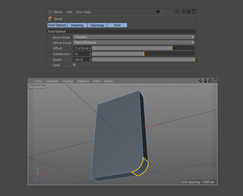 Use the Bevel Tool to curve the corner