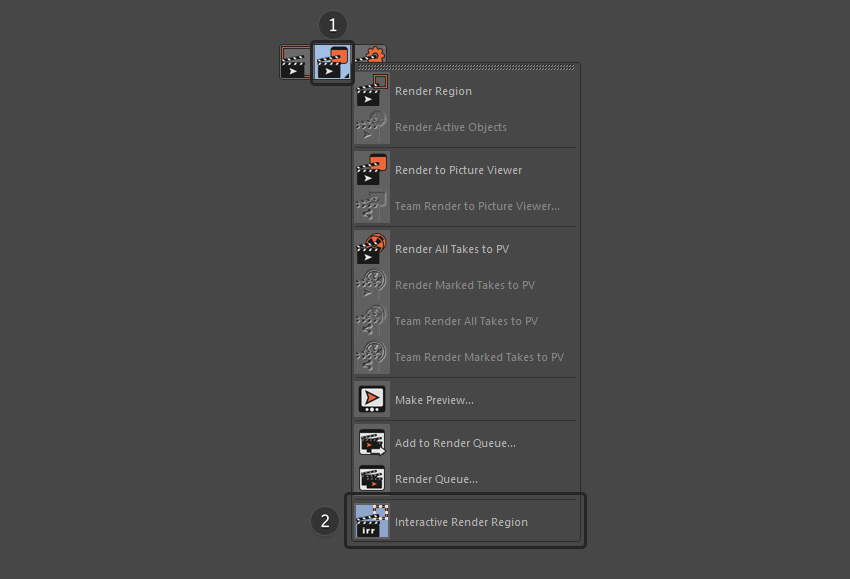 Select Interactive Render Region