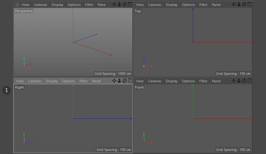 Cinema 4D 4 views
