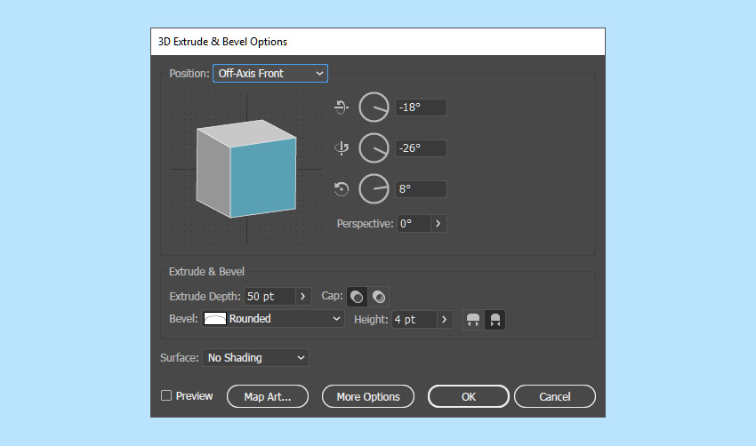 3D extrude and bevel options