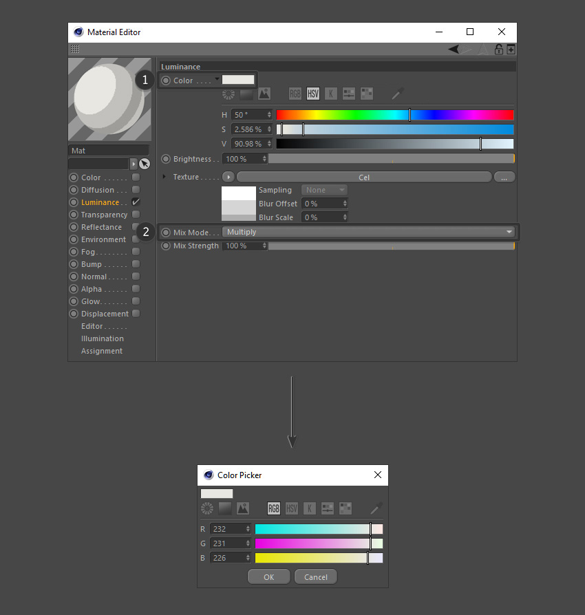 Select a color and set shading mode to multiply