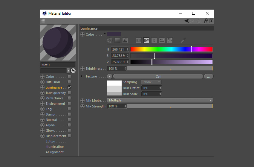 Select a purple color for the new material