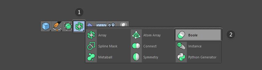 Select boole from top menu bar