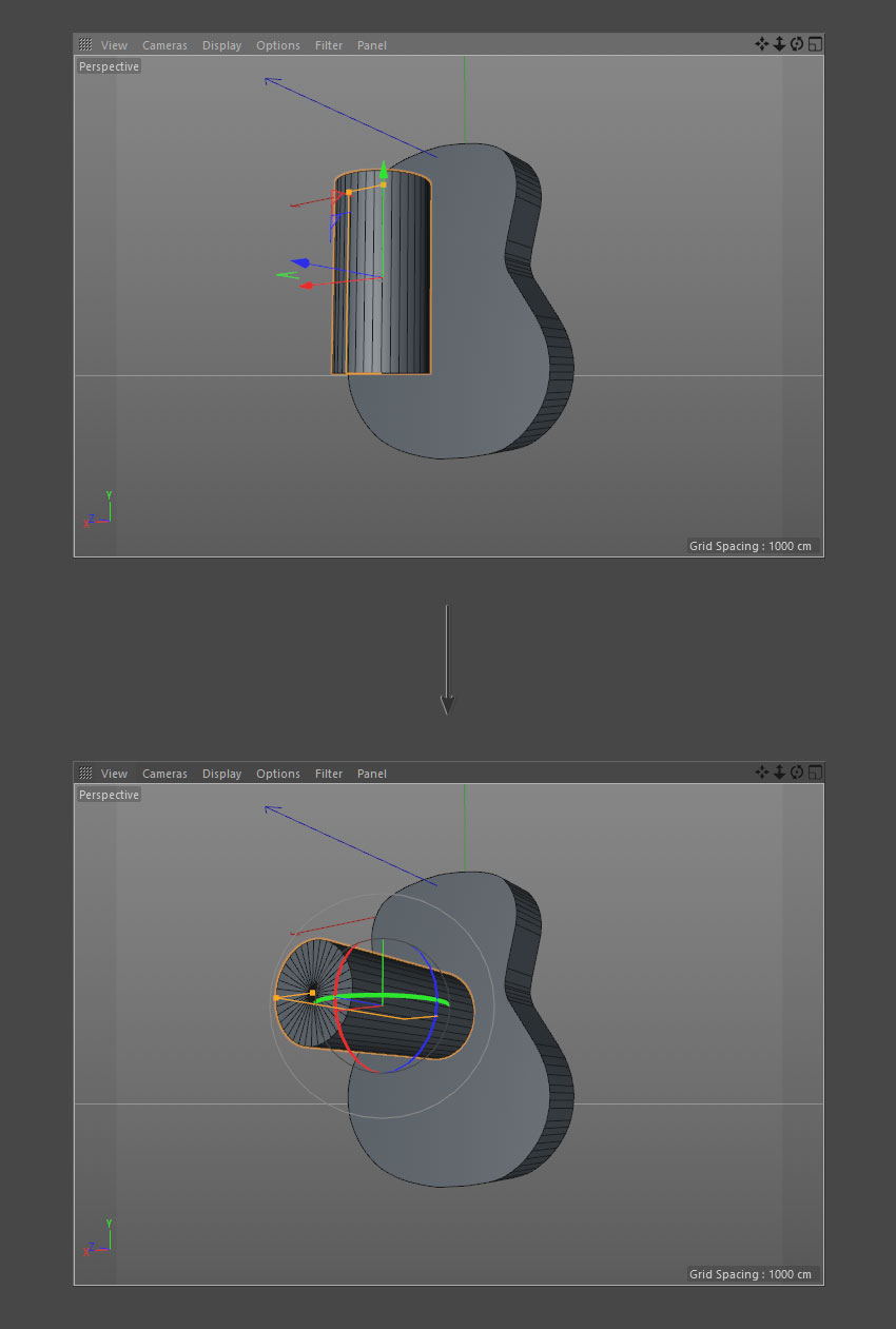 Rotate cylinder object