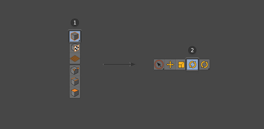 Select object tool and then rotate tool