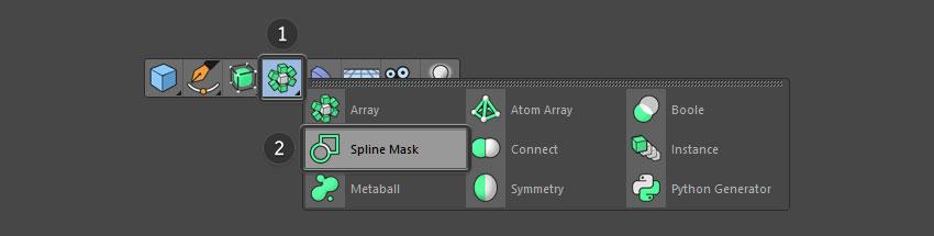 Select spline mask from top menu
