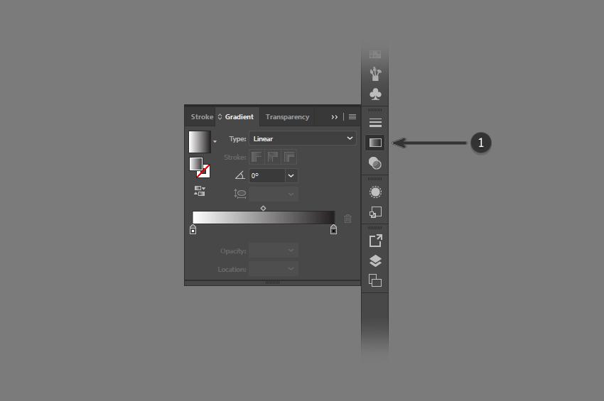 Выберите панель градиента Illustrator