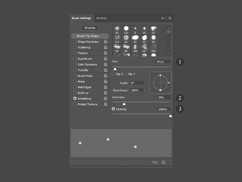 Particle brush settings